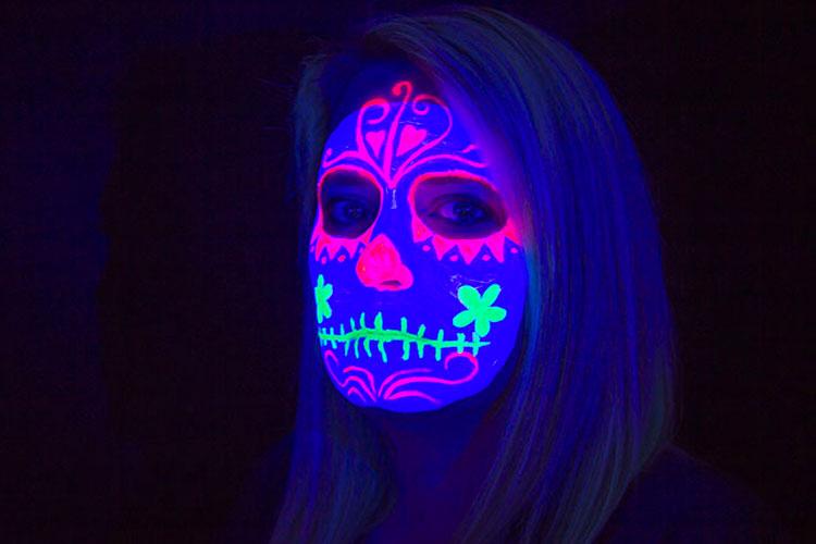 calavera catrina pintura luminosa