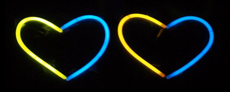 corazón glow stick